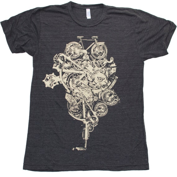 Steampunk Bike Machine Watch Parts - Mens T Shirt, Unisex Tee, Tri Blend Tee, Handmade graphic tee, sizes xs-xxl