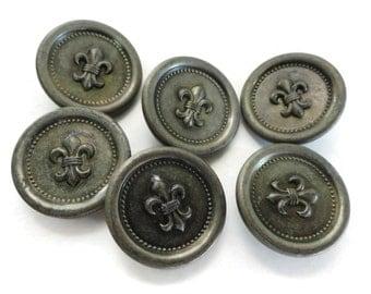 Fleur de Lis Vintage Buttons in Aged Pewter Metal