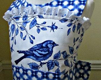 Blue white bluebird lace trim girl Easter dress wedding flower girl dress