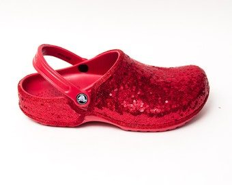 Tiny Sequin | Starlight Red Cayman Slip On Crocs Clogs Casual Shoes