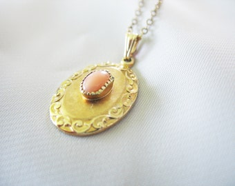 Oval Scrolled Pendant Pink Czech Glass Stone Gold Filled 1940s Delicate Link Chain