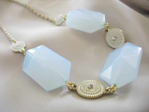 statement necklace oversized baby blue white by