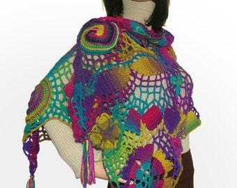 Rainbow Scarf Shawl Wrap Stole Freeform Crochet OOAK Wearable Art