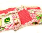 Burp Cloths - Pink John Deere, Baby set of 3 Rag Green White Plaid Farmer Raggedy - ready to ship