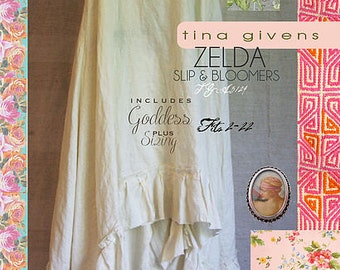 Zelda Slip & Bloomers TGP-A3124 Sewing Pattern by Tina Givens- Lagenlook Style! Includes Plus Sizing!