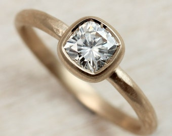 Rustic Texture Cushion Cut Engagement Ring - Recycled Gold or Palladium Engagement Ring - Forever Brilliant Moissanite - Cushion Cut