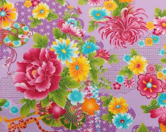 2666B - Sale - Georgeous Floral Fabric in Lt. Purple, Cotton Twill Fabric, Fabric Width 90 cms x 148 cms, Flower Blossom Fabric