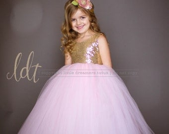 NEW! The Juliet Dress in Gold Sequins and Light Pink Tulle - Flower Girl Dress