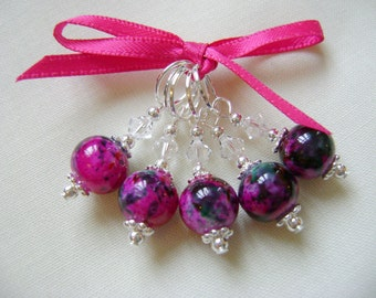 Fuchsia Marbled Stitch Markers for Knitting or Crochet