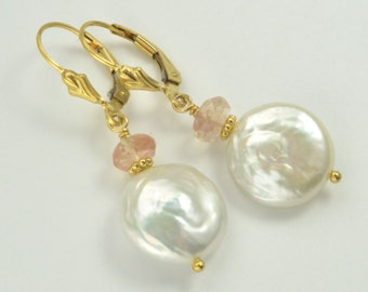 Coin Pearl & Oregon Sunstone 14k Gold Filled Leverback Earrings