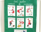 Vintage Linen Kitchen Towel Housewife Marriage FUNNY Graphics Jacques Charmoz Wedding or Shower Gift