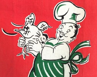 Vintage Linen Tea Towel Chef Chicken Wall Hanging Kitchen Decor