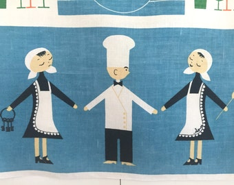 Linen Tea Towel Chef Maid Scandinavian Design Kitchen Decor Table Setting