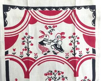 Linen Tea Towel Vintage Towel BUNNIES and Ducks