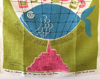 Vintage MID CENTURY Tea Towel Fish Filet of Sole Normandie Linen Textile