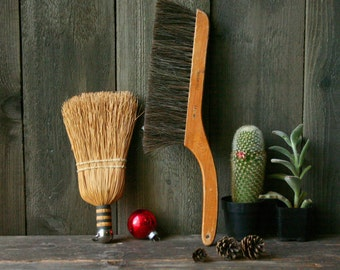 Rustic Whisk Broom And Brush Vintage From Nowvintage on Etsy