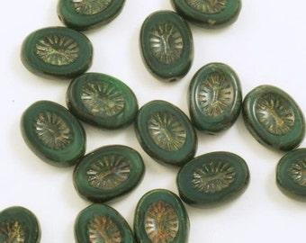 Deep Satiny Forest Green Table Cut Oval Starburst Czech Glass Beads 10x14mm - 15