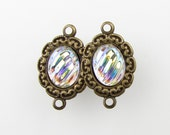 Vintage Bead Drop Connector Clear AB Cabochon Charm Antiqued Brass Filigree Link Setting uvf0235 (1)