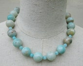 Chunky Light Blue Brown Amazonite Beaded Necklace