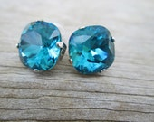 Indicolite Swarovski Cushion Cut Topaz Blue Silver Stud Earrings,  Caribbean Statement Studs
