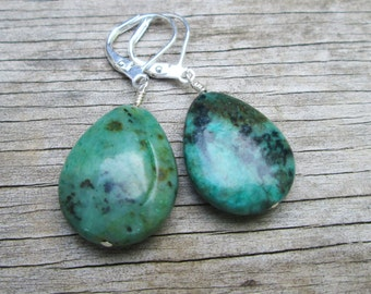Green Turquoise Tear Drop Earrings, Sterling Silver Wire Wrapped