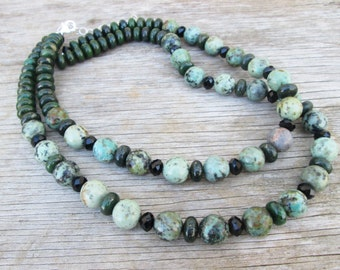 Genuine Green Turquoise Double Strand Beaded Necklace