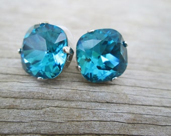 Indicolite Swarovski Cushion Cut Topaz Blue Silver Stud Earrings,  Caribbean Statement Studs