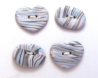 Handmade Buttons Ovals and Hearts Pink and Blue 20x15mm