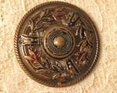 Vintage Button - Extra Large Pierced Metal Button - Antique Button Circa 1900 - Gay 90's Button