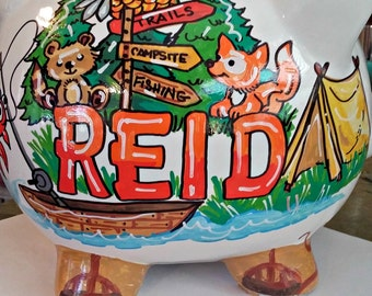 Personalized Piggy Bank Camping Theme Handprinted Outdoors Kids Room Custom Theme