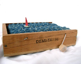 ocean decor, sailing art, nautical sailboat sculpture, small wood cigar box home decor, kinetic wood boat sculpture