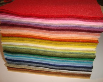 Wool blend Felt  4 1/2 x 6  sheets one of each color 85 pieces