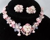 Glass Flower Necklace Set, Parure,  Vintage West Germany 1940, Pink Beads