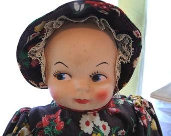Vintage Bottle Doll, MOM, Old Doll, Vintage Windex Bottle, Glass Bottle, Plastic Face, Handmade Doll Dress, Doll Bonnet, Unique Home Decor