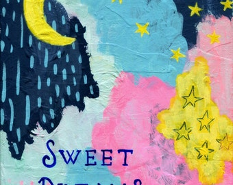 Sweet Dreams Nursery Print, Art for Baby's Room, Archival Print from Original Painting, Pink, Yellow, Blue, Moon, Stars