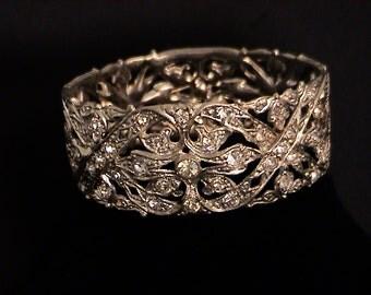 Vintage Art Deco Paste & White Pot Metal Hinged Bangle Bracelet