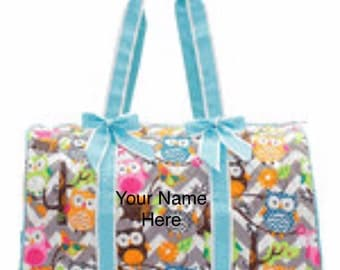 Duffle Bag Turquoise Accented Chevron and Owls Quilted with Personalized Embroidery