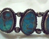 RESERVED   Sterling Silver Old Pawn Tuquoise Stone Bracelet Cuff Navajo