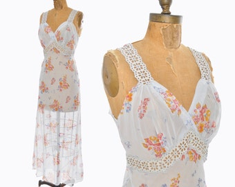 vintage 1940s nightgown / sheer floral gown / rayon bias cut 40s nightgown