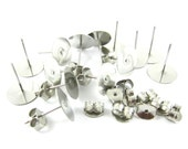 Surgical Steel Flat Pad Ear Studs and Clutches - 10mm - 12 sets