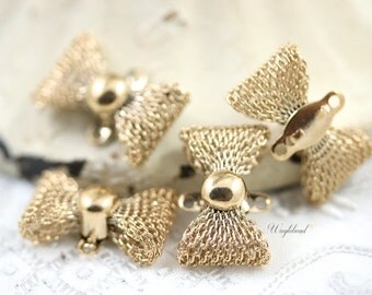 Mesh Bow Connector Link Charms 19mm Gold Tone - 4 .