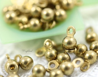 Small Vintage Raw Brass Round Drops - 4mm - 20