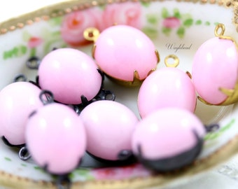 12x10mm Vintage Glass Oval Stones Earring Drop Connector Brass Prong Settings Milky Pink - 4