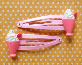 Hair Clips Pink Snap Barrettes Soft Serve Sundae Sweet Lolita Fairy Kei Hair Accessories Kawaii Hair Clips Girls Hair Clips Ice Cream- AS IS