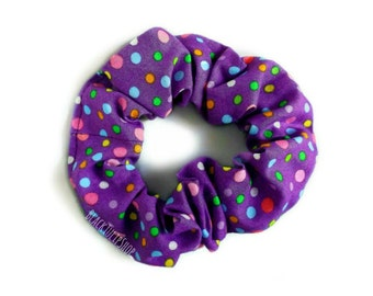 Purple Hair Scrunchie Colorful Dots Small Scrunchie Retro 80s 90s Ponytail Holder Hair Elastic Hair Buns