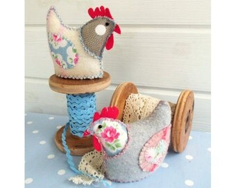 Two French Hens softies pdf pattern instant download