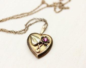 Gold Filled Vintage Pink Flower Heart Locket Necklace