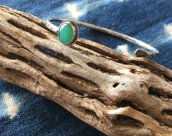 Chrysoprase and Silver Hammered Cuff Bracelet
