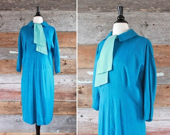 "1960s dress / blue flannel cotton dress / 60s day dress / bust 40"""