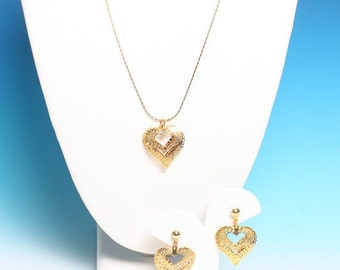 CIJ Sale Filigree Heart Necklace Earring Set Gold Tone Vintage